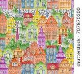 watercolor town objects pattern.... | Shutterstock . vector #707870200