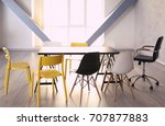 empty wooden table and chairs...   Shutterstock . vector #707877883
