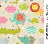 seamless pattern with baby... | Shutterstock .eps vector #707878240