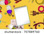 electric themed concept on...   Shutterstock . vector #707889760