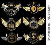 collection of vector heraldic... | Shutterstock .eps vector #707895394