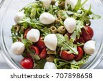 fresh salad with tomatoes ... | Shutterstock . vector #707898658