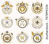 collection of vector heraldic... | Shutterstock .eps vector #707899234