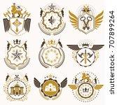 collection of vector heraldic... | Shutterstock .eps vector #707899264