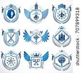 set of vector vintage emblems...   Shutterstock .eps vector #707899318