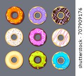 donut icon set. food... | Shutterstock .eps vector #707909176