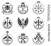 vintage weapon emblems set.... | Shutterstock .eps vector #707915314