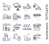set of thin line icons loading... | Shutterstock .eps vector #707916376