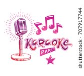 karaoke party invitation poster ... | Shutterstock .eps vector #707917744