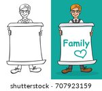 illustration of a man holding a ... | Shutterstock .eps vector #707923159