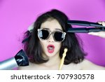 dry and damaged hair  hair loss ... | Shutterstock . vector #707930578