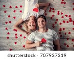 top view of beautiful young...   Shutterstock . vector #707937319