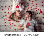 top view of beautiful young... | Shutterstock . vector #707937334
