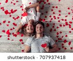 top view of beautiful young... | Shutterstock . vector #707937418