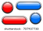 glossy buttons with metallic ... | Shutterstock .eps vector #707937730