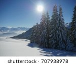 idyllic view on snowy forest in ... | Shutterstock . vector #707938978