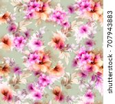 seamless pattern with pink... | Shutterstock .eps vector #707943883