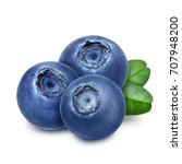 three fresh blueberries with... | Shutterstock . vector #707948200
