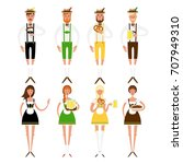 set of young women and men at... | Shutterstock .eps vector #707949310