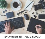 top view work space of... | Shutterstock . vector #707956930
