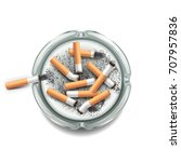 ashtray with cigarettes... | Shutterstock .eps vector #707957836