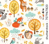 autumn seamless pattern with... | Shutterstock .eps vector #707967820