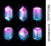colorful glowing crystals set.... | Shutterstock .eps vector #707971588