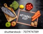 ketogenic diet  or keto diet ... | Shutterstock . vector #707974789