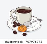 coffee and cookies vector | Shutterstock .eps vector #707976778