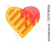 heart shape cookie with jam...   Shutterstock .eps vector #707978506