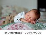 beautiful little newborn baby... | Shutterstock . vector #707979703