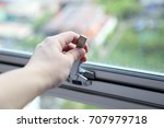hand open or close the awning... | Shutterstock . vector #707979718