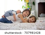 two children  toddler and his... | Shutterstock . vector #707981428