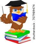 owl wearing graduation cap | Shutterstock .eps vector #707989474