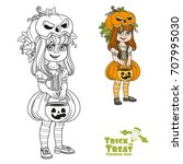 cute girl in pumpkin costume... | Shutterstock .eps vector #707995030