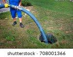 emptying household septic tank. ... | Shutterstock . vector #708001366