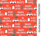 vector christmas words seamless ... | Shutterstock .eps vector #708004384