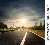 road and cities in the evening | Shutterstock . vector #708005074