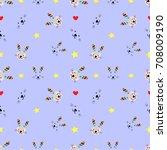 rabbit pattern blue background... | Shutterstock .eps vector #708009190