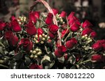bouquet of 100 red roses on the ... | Shutterstock . vector #708012220
