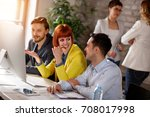 group of young people working... | Shutterstock . vector #708017998