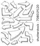 set of arrow doodle on white... | Shutterstock .eps vector #708019120