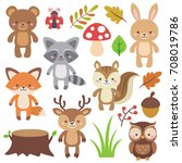 Stock vector cute woodland animals set and forest elements colorful adorable vector illustration in flat style 708019786