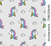 seamless pattern with ice cream ... | Shutterstock .eps vector #708020644