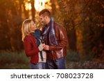 love is happy  couple enjoying... | Shutterstock . vector #708023728