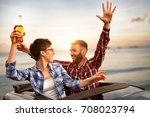 happy friends enjoying on road... | Shutterstock . vector #708023794