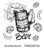 sketch a mug of beer with... | Shutterstock .eps vector #708028510