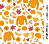 autumn seamless pattern.... | Shutterstock .eps vector #708033868