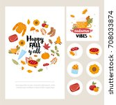 happy fall y'all card set. tags ... | Shutterstock .eps vector #708033874