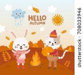 hello fall greeting card. cute... | Shutterstock .eps vector #708033946
